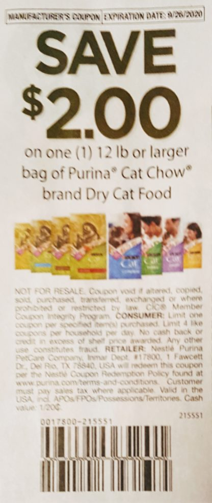 $2/1 Purina Cat Chow Dry Cat Food (9/26) 1