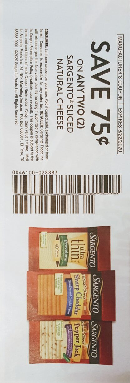 .75/2 Sargento Sliced Natural Cheese (exp.8/22) 1