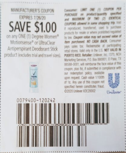 $1/1 Degree Women Motionsense or UltraClear Deodorant Stick (exp.7/26) 1