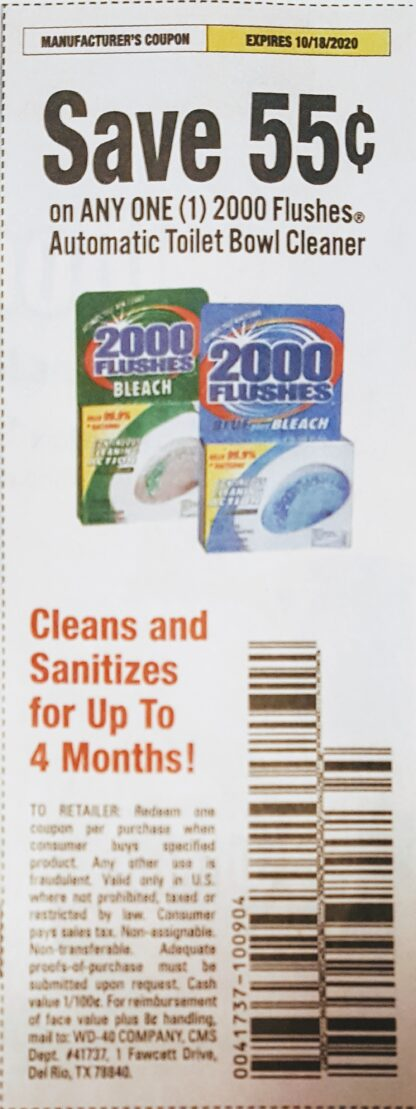 .55/1 2000 Flushes Automatic Toilet Bowl Cleaner (exp.10/18) 1