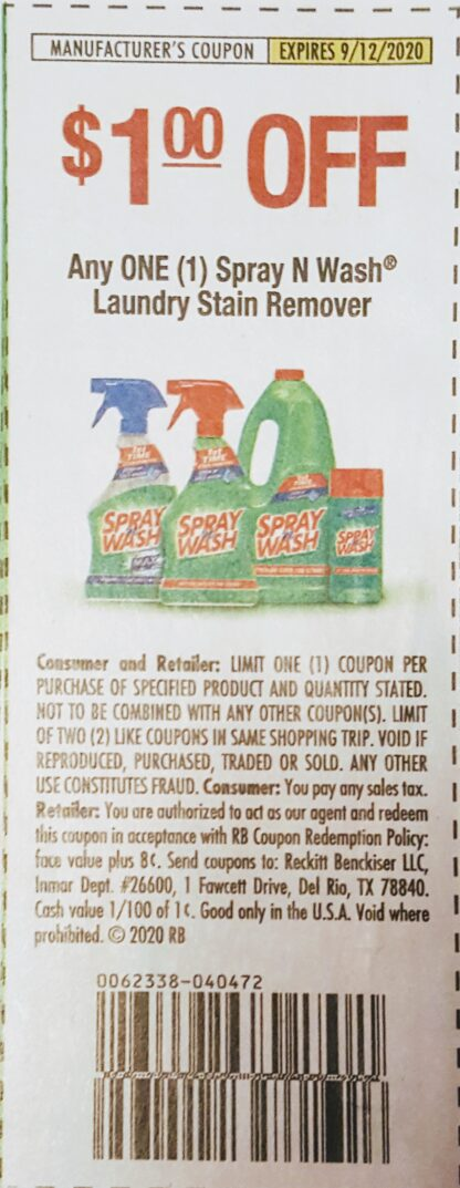 $1/1 Spray N Wash Laundry Stain Remover (exp.9/12) 1