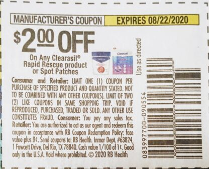 $2/1 Clearasil Rapid Rescue (exp.8/22) 1