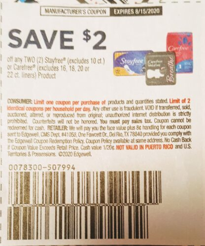 $2/2 Stayfree or Carefree (exp.8/15) 1