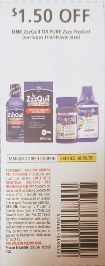 $1.50/1 ZzzQuil or Pure Zzzs (exp.8/08) 1