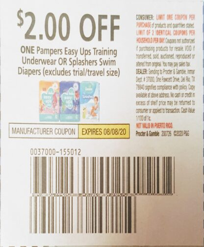 $2/1 Pampers Easy Ups Training Underwear (exp.8/08) 1